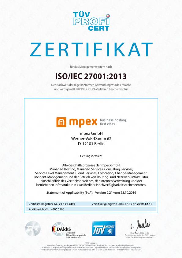 Zertifikat ISO27001